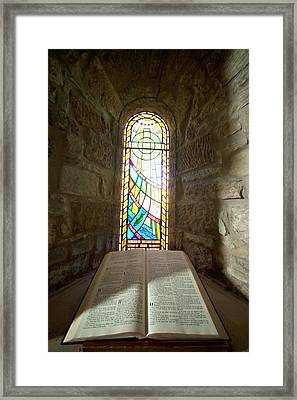 An Open Bible And A Stained Glass Framed Print by John Short