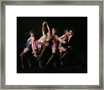 An Outtake Of Joel Grey With The Kit Kat Girls Framed Print by Bert Stern