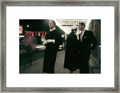 An Outtake Of Models Outside Of A Theatre Framed Print by Sy Kattelson
