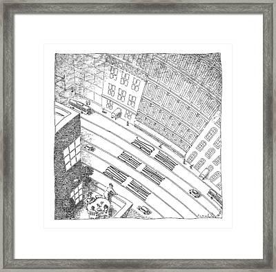 An Overhead Shot Of A Street Reveals Three Lanes Framed Print