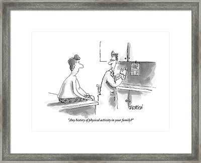 An Overweight Man Sits In His Underwear Framed Print