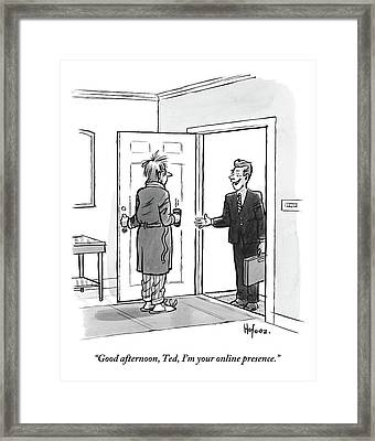 An Unkempt Man Opens The Door To Find Framed Print