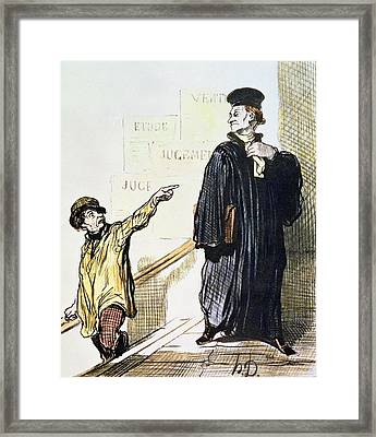 An Unsatisfied Client, From The Series Les Gens De Justice, C.1846 Colour Litho Framed Print by Honore Daumier