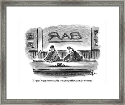 An Unshaven Man Says To Another Man At A Bar Framed Print