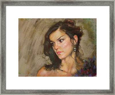 Ana With An Earring Framed Print by Ylli Haruni