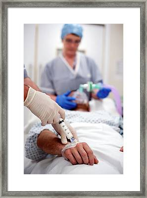 Anaesthestic Injection Framed Print by Jim Varney/science Photo Library