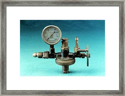 Anaesthetic Machine Reducing Valve Framed Print by Science Photo Library