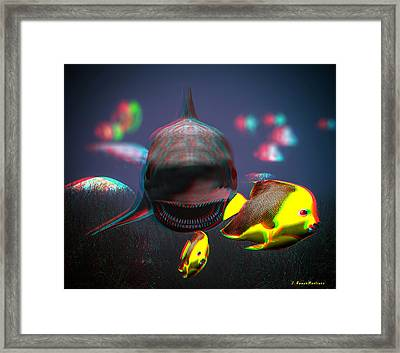 Anaglyph Shark And Fishes Framed Print by Ramon Martinez