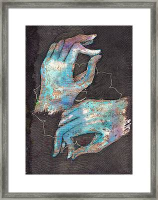 Anahata - Heart 'blue Hand' Chakra Mudra Framed Print