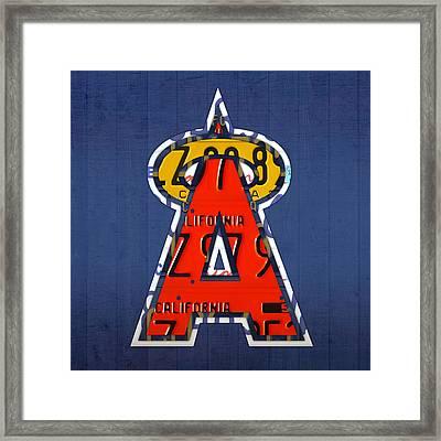 Anaheim California Angels Vintage Baseball Logo License Plate Art Framed Print