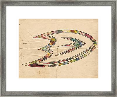 Anaheim Ducks Logo Art Framed Print by Florian Rodarte