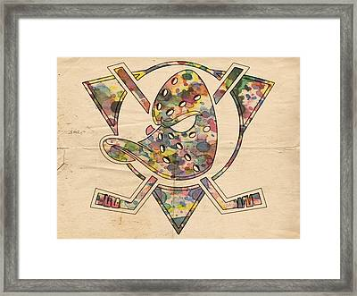 Anaheim Ducks Retro Poster Framed Print by Florian Rodarte