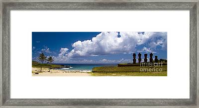 Anakena Beach With Ahu Nau Nau Moai Statues On Easter Island Framed Print