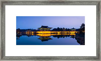 Anapji Pond At Dusk Framed Print