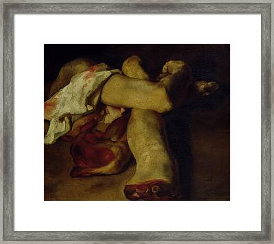 Anatomical Pieces Oil On Canvas Framed Print by Theodore Gericault