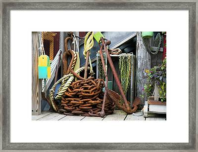 Anchor And Chain Framed Print by Betsy Knapp