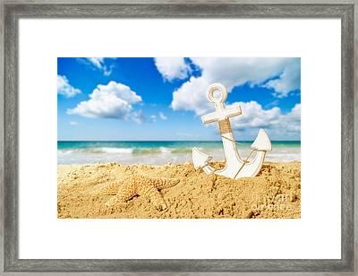 Anchor At The Beach Framed Print
