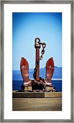 Framed Print featuring the photograph Ship's Anchor  by Aaron Berg