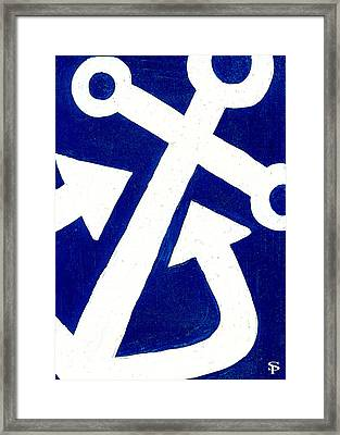 Anchor- Dark Blue Framed Print by Catherine Peters