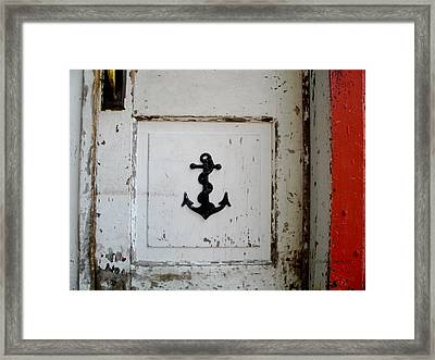 Anchor On Old Door Framed Print by Kathy Barney
