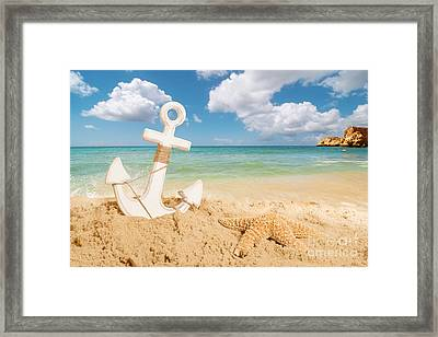 Anchor On The Beach Framed Print by Amanda Elwell