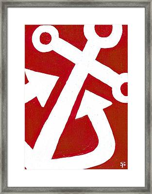 Anchor- Red Framed Print by Catherine Peters