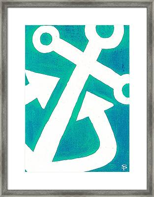 Anchor-turquiose Framed Print by Catherine Peters