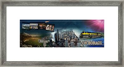 Anchorage Alaska Panoramic Framed Print by Retro Images Archive
