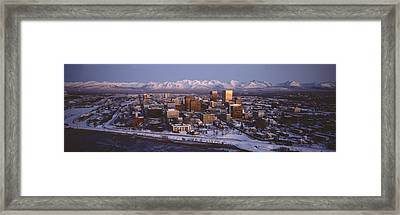 Anchorage At The Base Of Chugach Mtns Framed Print