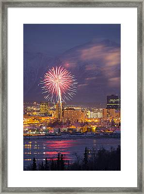 Anchorage Fireworks Eight Framed Print by Tim Grams
