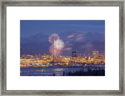 Anchorage Fireworks One Framed Print
