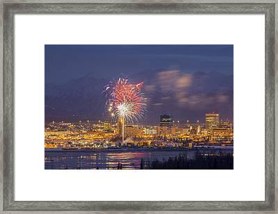 Anchorage Fireworks Three Framed Print by Tim Grams