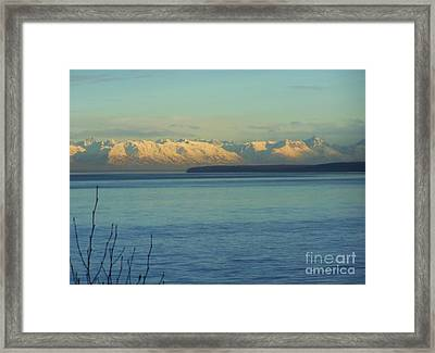 Framed Print featuring the photograph Anchorage Mountains by Brigitte Emme