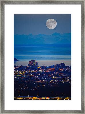 Anchorage Skyline At Sunset With The Framed Print by Michael Jones