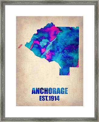 Anchorage Watercolor Map Framed Print by Naxart Studio