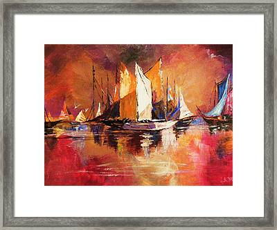 Anchored At Sunset Framed Print by Al Brown