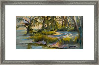 Anchored In The Marsh Framed Print by Jane Woodward