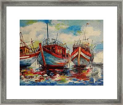 Anchored Framed Print by Min Wang