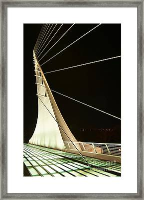 Anchored Sail - The Unique And Beautiful Sundial Bridge In Redding California. Framed Print