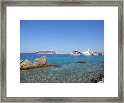 Anchored Ships Framed Print