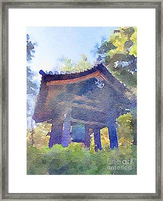 Ancient Belfry Wooden Bell Tower In Nara Japan Framed Print by Beverly Claire Kaiya