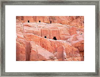 Ancient Buildings In Petra Framed Print