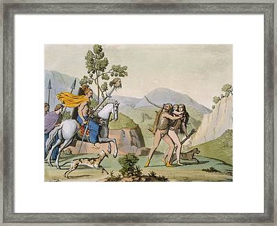 Ancient Celtic Warriors On A Foray Framed Print by Italian School