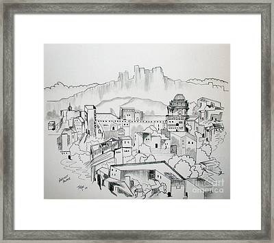 Framed Print featuring the drawing Ancient City In Pen And Ink by Janice Rae Pariza
