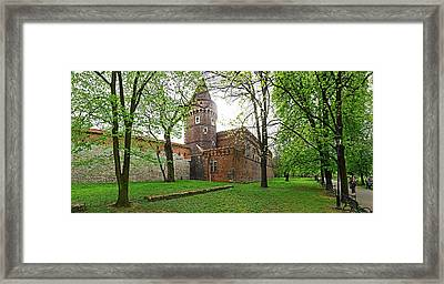 Ancient City Walls In Krakow, Poland Framed Print