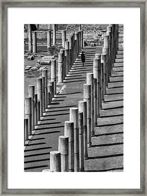 Ancient Columns Of Messene Framed Print by Peter Eastland