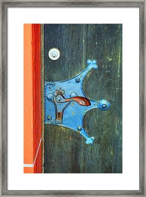 Ancient Door Handle Framed Print by Linda Covino