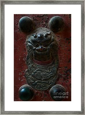 Ancient Door Knocker Framed Print by Venetta Archer