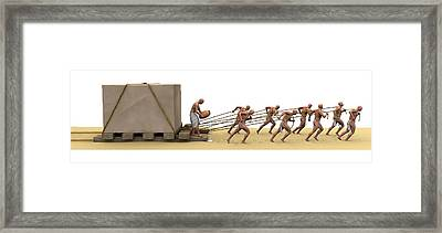 Ancient Egyptians Moving Stone Framed Print by Jose Antonio Pe�as