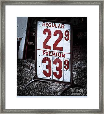 Ancient Gas Prices Framed Print